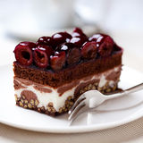 Chocolate Cake with Sour Cherries Royalty Free Stock Photography
