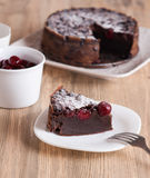 Chocolate cake with sour cherries Stock Images