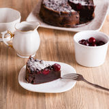 Chocolate cake with sour cherries Stock Image