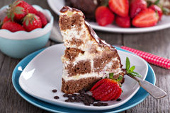 Chocolate cake with sour cream frosting Stock Photo