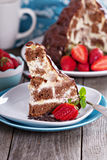 Chocolate cake with sour cream frosting Stock Images