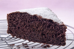Chocolate cake sprinkled with icing sugar Royalty Free Stock Photo