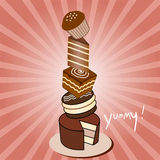 Chocolate Cake Stack. Stack of chocolate cakes, raspberry light burst, vector illustration Stock Image