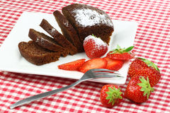Chocolate cake and strawberries Royalty Free Stock Photo