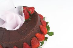 Chocolate Cake with strawberries. Close up of chocolate cake stock image