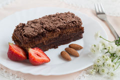 Chocolate Cake with Strawberries and Almonds. Homemade Chocolate Cake with Strawberries and Almonds on a White Plate Stock Image