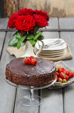 Chocolate cake with strawberries. Birthday party Stock Photography
