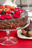 Chocolate cake with strawberries Royalty Free Stock Images
