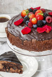 Chocolate cake with strawberries. Birthday party Royalty Free Stock Photography
