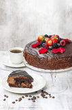 Chocolate cake with strawberries. Birthday party Royalty Free Stock Images