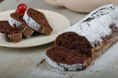Chocolate cake with strawberries and grapes stock photos