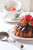 Chocolate cake with strawberries royalty free stock photo