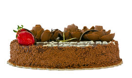 Chocolate cake with strawberries isolated Royalty Free Stock Images