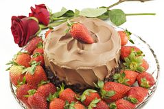 Chocolate Cake with Strawberries and Roses Royalty Free Stock Images
