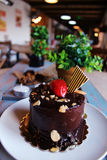 Chocolate cake with strawberries on top, sprinkled with nuts on. A white plate. candles and green plants in the background Stock Image