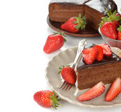 Chocolate cake with strawberries Stock Image