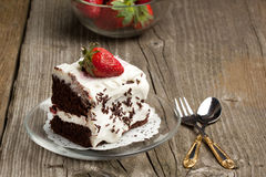 Chocolate cake with strawberry Royalty Free Stock Image