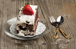 Chocolate cake with strawberry Stock Photo