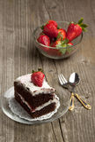 Chocolate cake with strawberry Stock Photography
