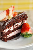 Chocolate cake with strawberry Stock Images