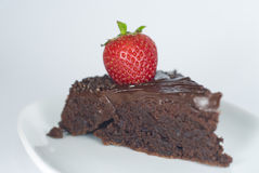 Chocolate cake with strawberry Stock Photos