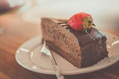 Chocolate cake with strawberry