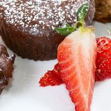 Chocolate cake with a strawberry Royalty Free Stock Photo