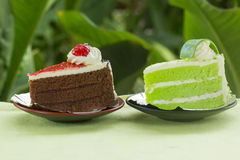 Chocolate cake with strawberry jam and Pandan cake Stock Images