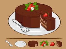Chocolate Cake with Strawberry on Plate Stock Image
