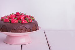 Chocolate cake with strawberry. Royalty Free Stock Image