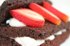 Chocolate cake with strawberry on top Stock Image