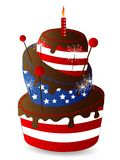 Chocolate cake. With stripes and stars Royalty Free Stock Image