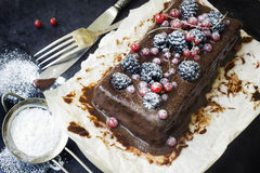 Chocolate cake with summer berries Royalty Free Stock Image