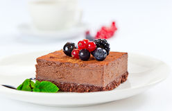 Chocolate cake with summer berries Stock Images