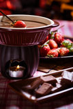 Chocolate cake. Sweet chocolate cake with strawberry stock photos