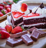 Chocolate cake. Sweet chocolate cake with strawberrys stock images
