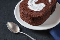 Chocolate cake on the table stock image