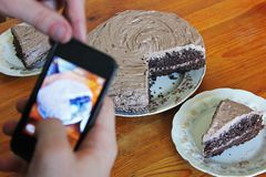 Chocolate cake on the table royalty free stock photography