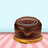 Chocolate cake. Tasty chocolate cake with decoration on the table Stock Images