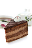 Chocolate cake and tea Stock Photos