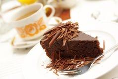 Chocolate cake with tea Royalty Free Stock Image