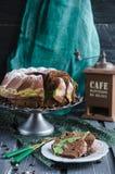 Chocolate cake with tea match Royalty Free Stock Photos