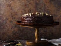 Chocolate cake three layers royalty free stock photos