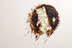 Chocolate cake thrown on the wall  Royalty Free Stock Photo