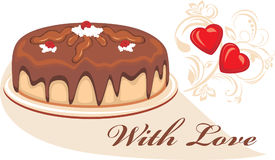 Chocolate cake to the Valentines Day. Illustration Stock Image
