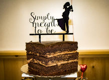 Chocolate cake topper. For wedding stock photos