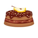 Chocolate cake torte with apple topping vector template icon Stock Image