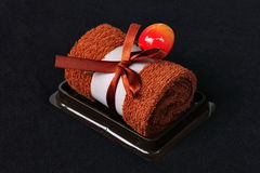 Chocolate Cake towel Stock Photo