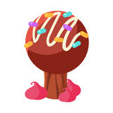 Chocolate cake tree. Colorful cartoon vector Illustration. Isolated on a white background Royalty Free Stock Image