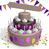 A chocolate cake. Use as a template. A brown chocolate cake with an empty sign at the top that one can fill in. Decorated with confetti, flags, baloons and Stock Photos